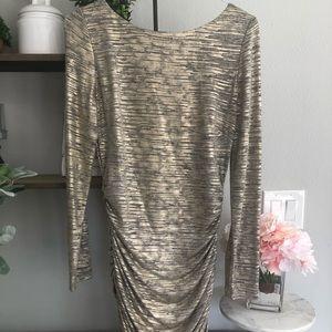 Women's Gold Long Sleeve Mini Dress